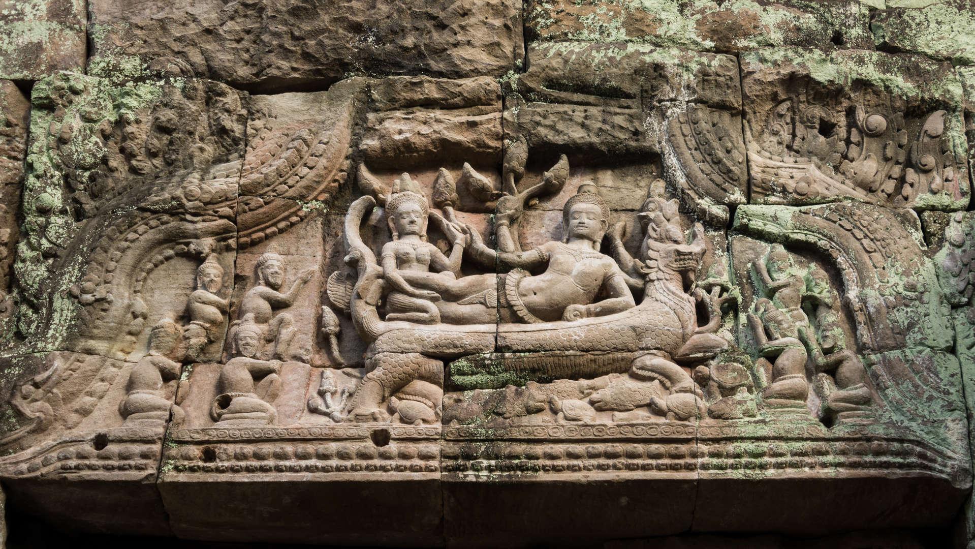 Płaskorzeźby w świątyni Preah Khan, Kambodża