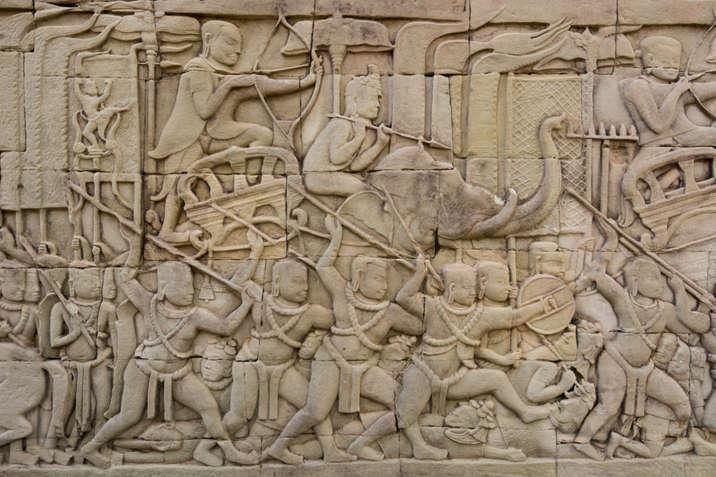 Płaskorzeźby w świątyni Bayon, Kambodża