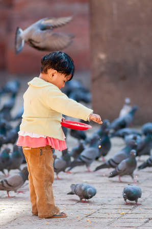 Nepalskie dziecko karmi gołębie