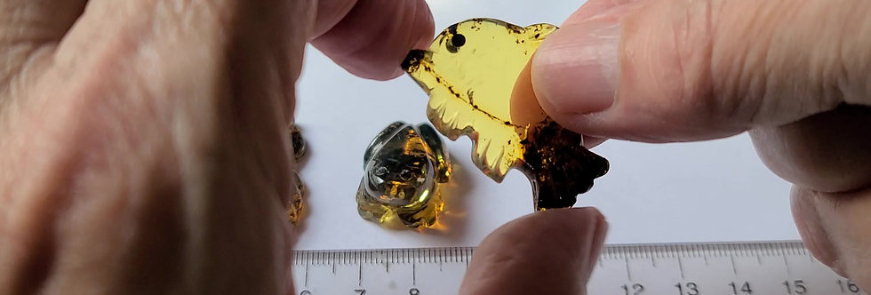 3 GORGEOUS HAND CARVED Amber Animals!