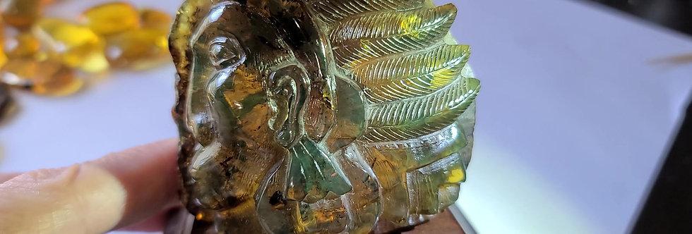 RARE GREEN Amber Mayan Chief, Hand carved.