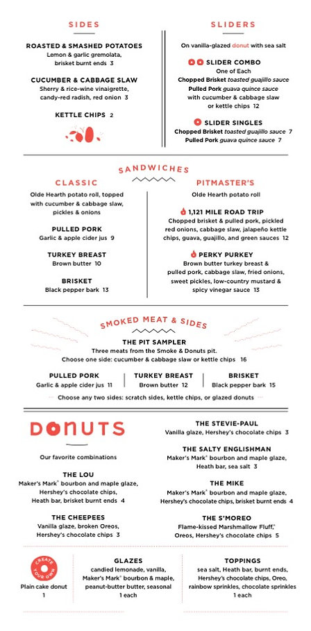 barbecue and donuts menu