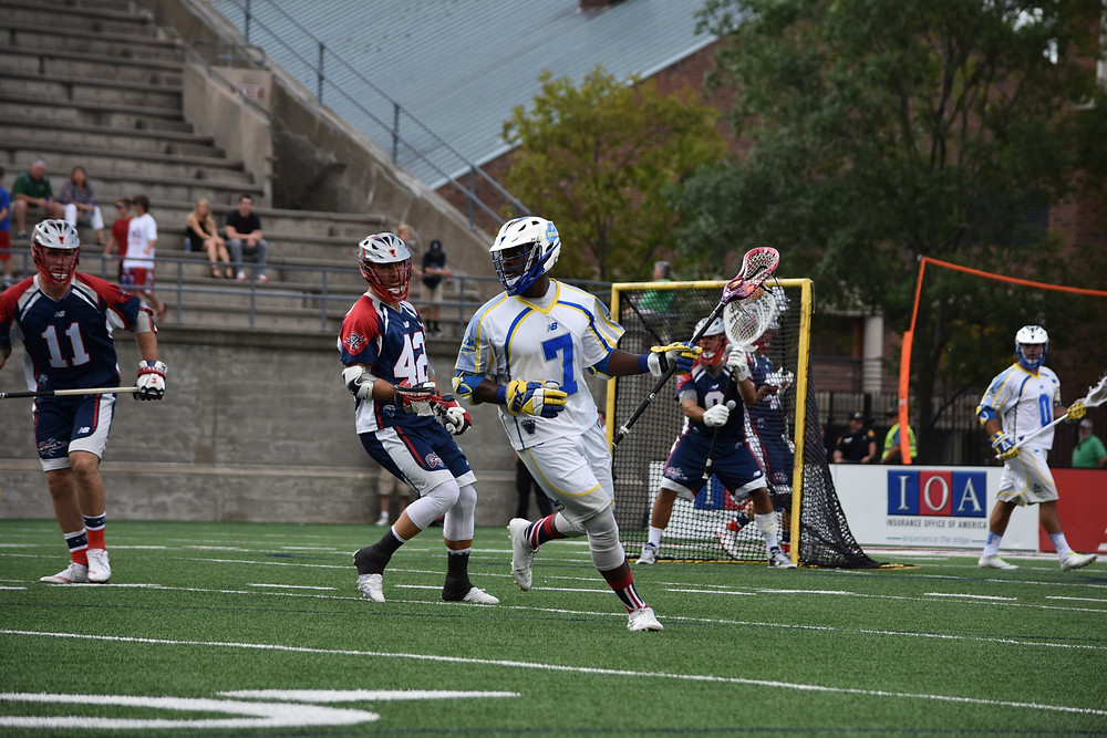 Jovan Miller playing for the Florida Launch in a contest against the Boston Cannons at Harvard Stadium in Cambridge, MA.