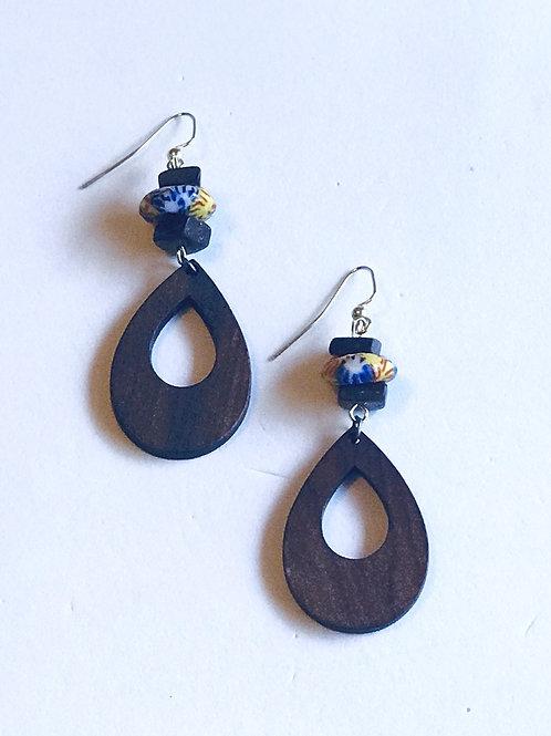 Wood & African Glass Bead Earrings