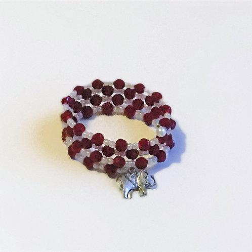 Crimson & Cream Bracelet w/Charm