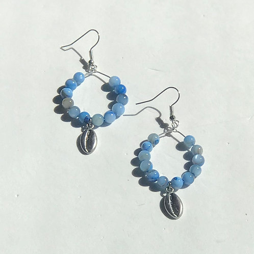 Blue Cowry Shell Earrings