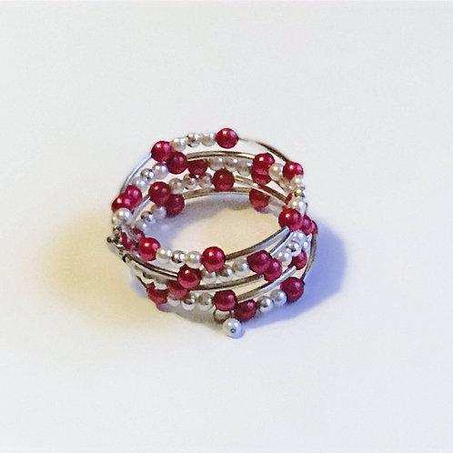 """""""Pearl"""" Crimson & Cream Bracelet"""