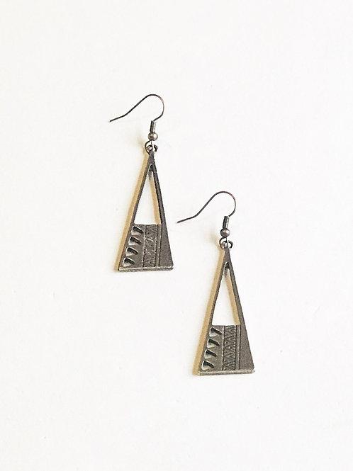 Bronze Triangle Earrings