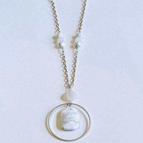 Howlite Hoop Necklace