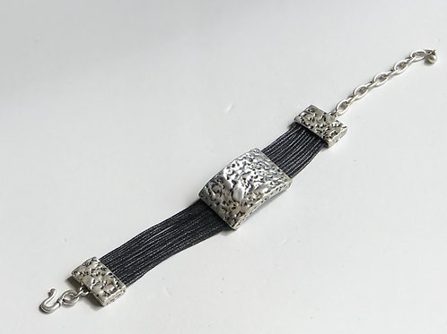 Hammered Black Strand Bracelet