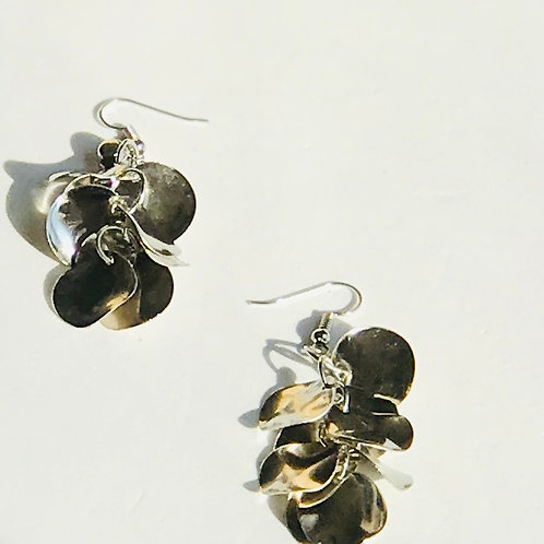 Silver Drop Earrings w/Rhinestone accent