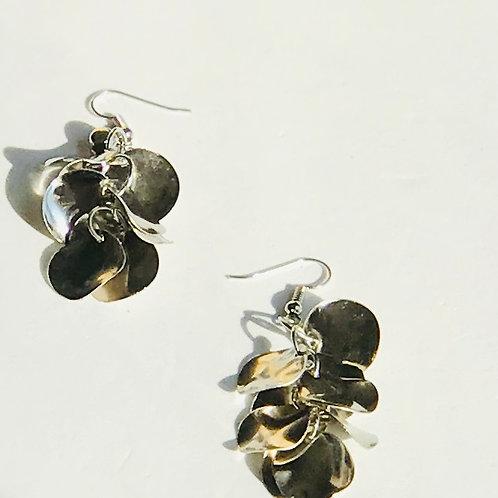 Silver Drop Earrings w/Rhinestone accent