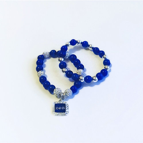 Z Phi B Rhinestone Bracelet Set