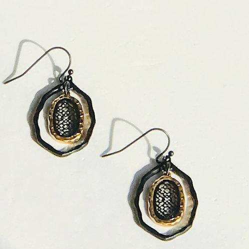 Black Octagon Earrings