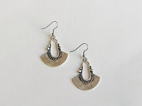 """Antique Silver """"U"""" Earrings"""
