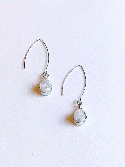 White Druzy Drop Earrings