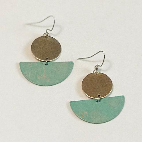 Green Half-Moon Earrings