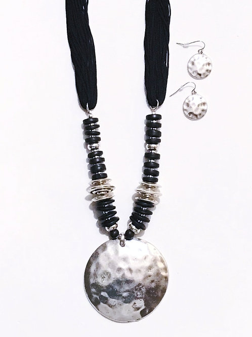 Black Suede Cord Necklace w/Hammered Pendant