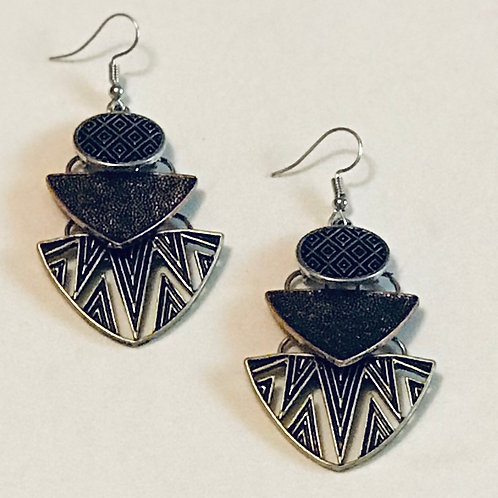 """Shapes"" Tri-Color Earrings"