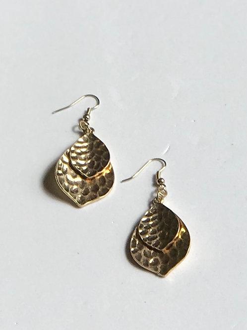 Gold Double Leaf Earrings