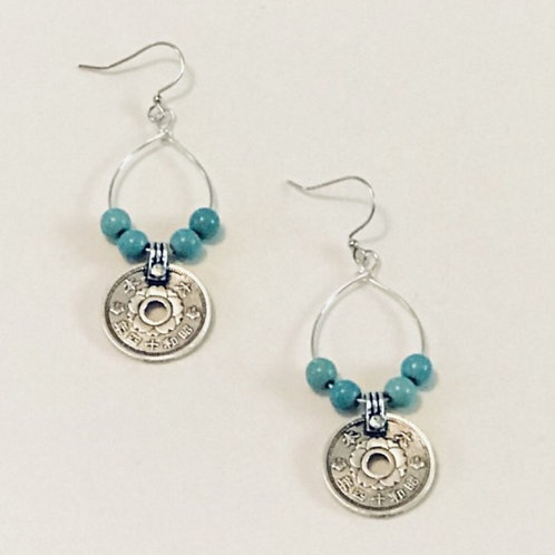 "Silver ""Coin"" Earrings"