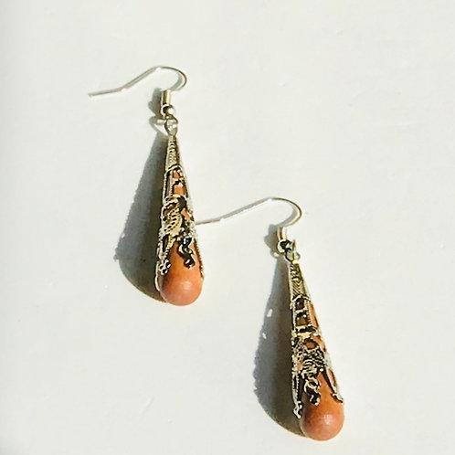 Wood & Silver Dangle Earrings