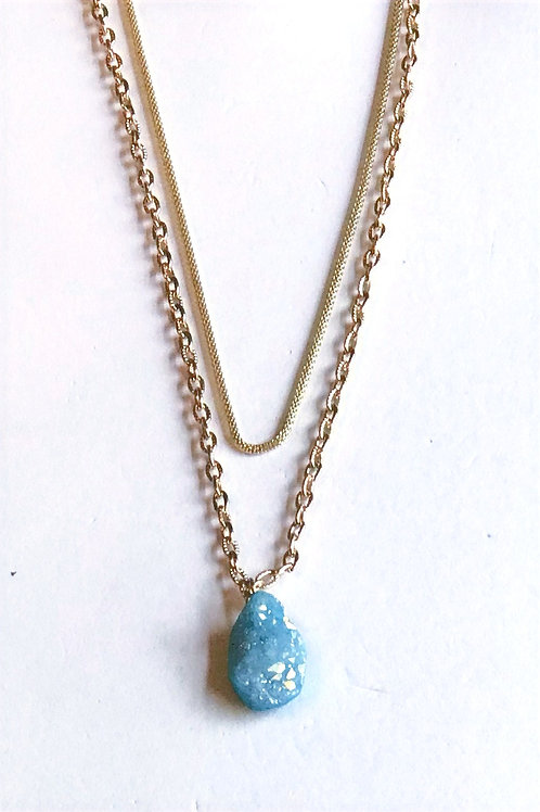 Light Blue Druzy Layer Necklace