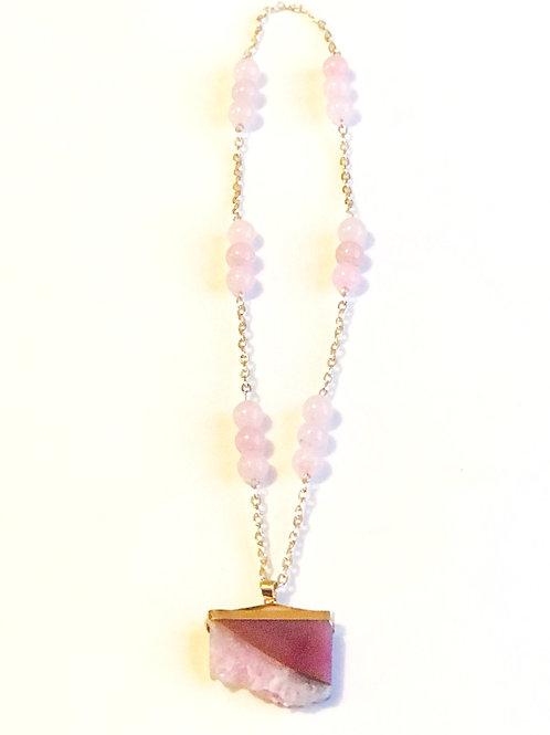 Pink Druzy Slice Necklace