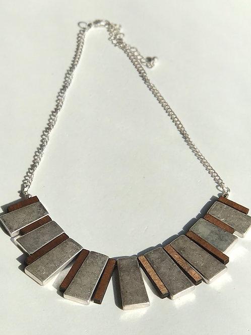 """Silver & Wood """"Fan"""" Necklace"""