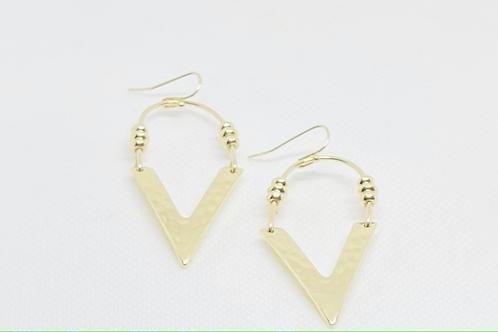 """Hammered """"V"""" Earrings"""