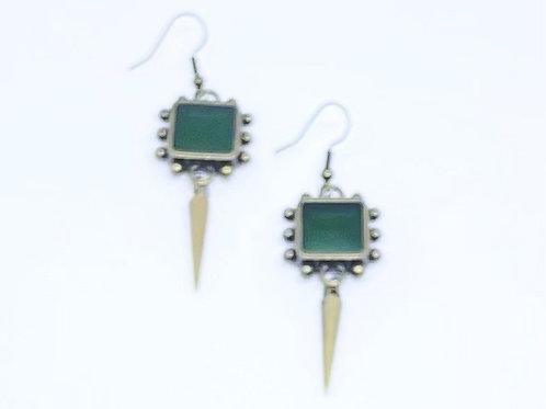Green Spike Earrings