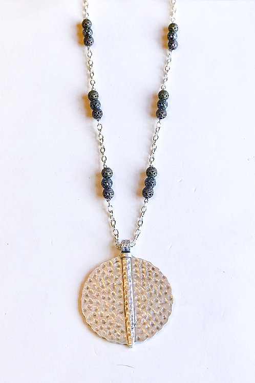 Hammered Pendant with Beads