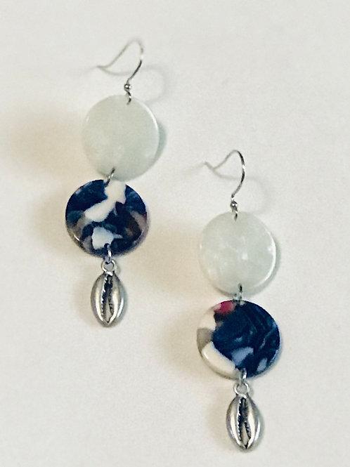 Blue Cowry Shell Earrings