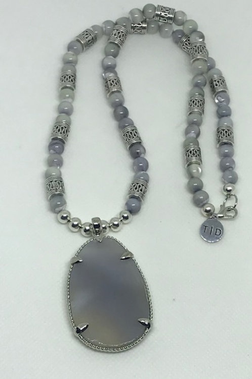 Gray Gemstone Necklace