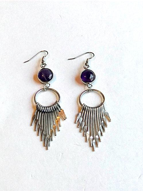 """Silver """"Fan"""" Earrings"""