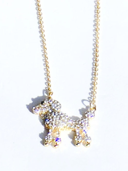 Rhinestone Poodle Necklace