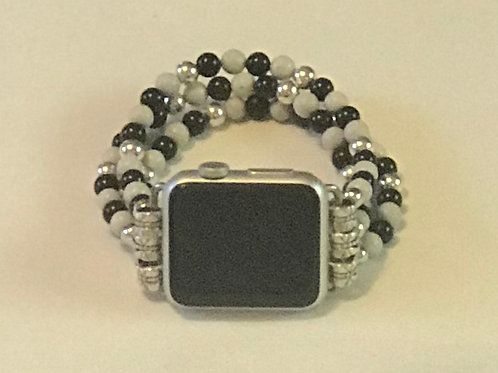 Black & Silver Beaded Band