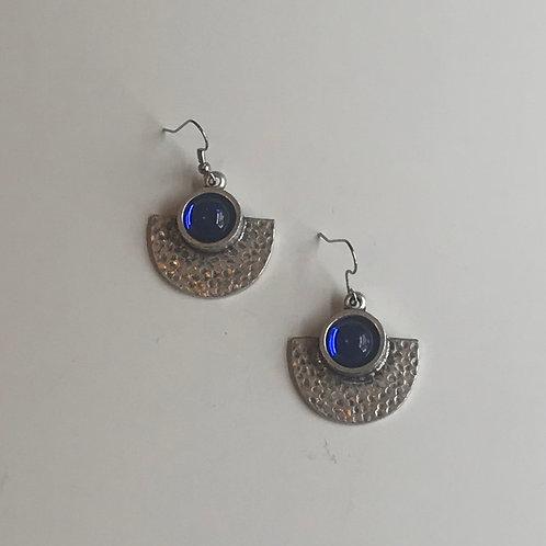 Antique Silver Fan Earrings