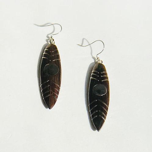 Wood Tribal Earrings