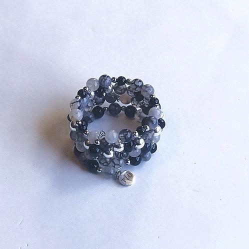 Gray Crackle Agate Bracelet