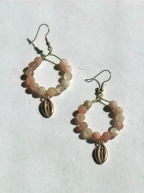 Bead Cowry Shell Earrings