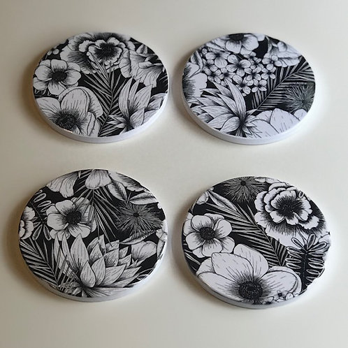 Black & White Floral Coasters
