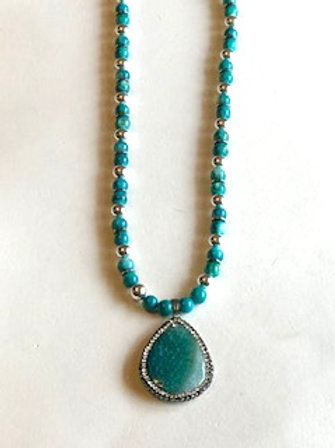 Teal Pave Necklace
