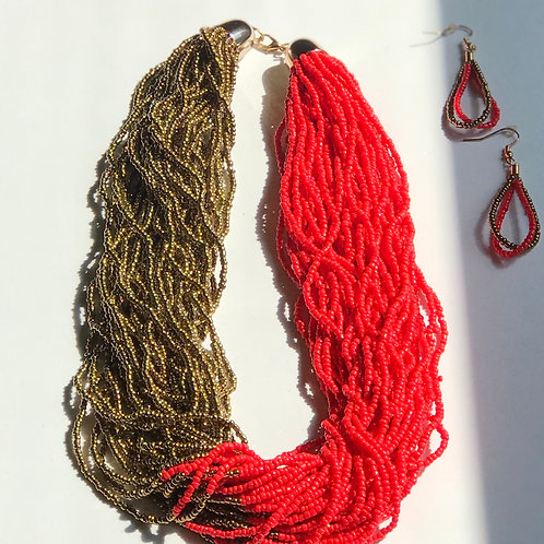 Red &Gold Seed Bead Set