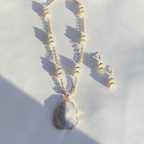 Gray Agate Necklace Set