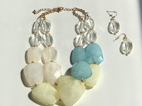 Turquoise & Cream Necklace Set