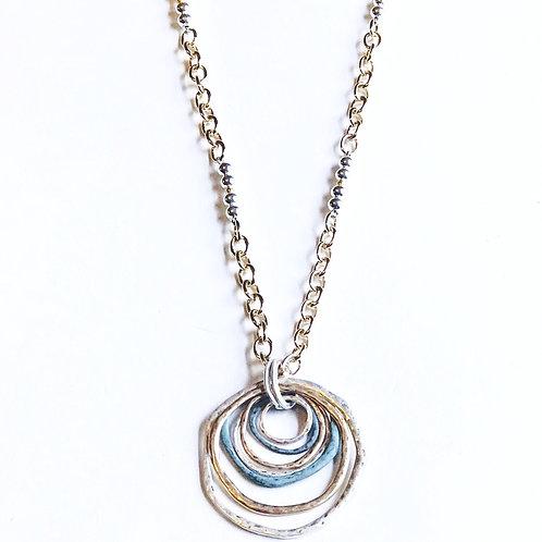 Tri-Color Circle Necklace