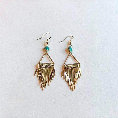 """Teal Drop""""Fan"""" Earrings"""