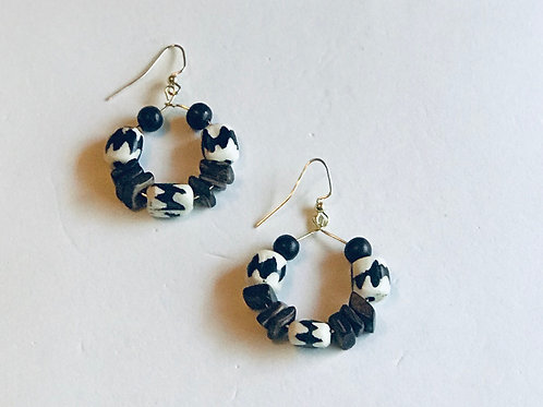 Batiked Bone Bead Earrings