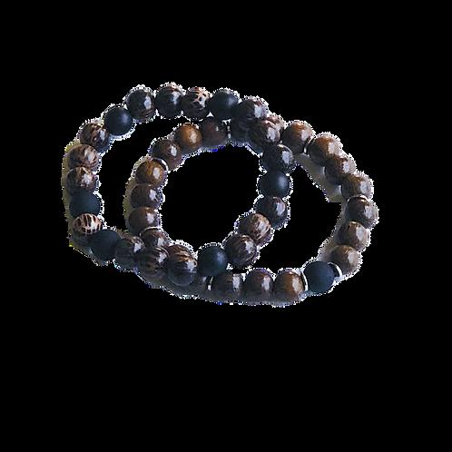 Onyx & Wenge Wood Bracelet Set